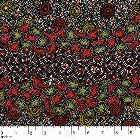 M & S Textiles Wild Seed & Waterhole Black by Tanya Price Nangala