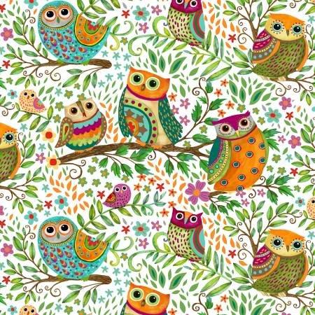 Henry Glass & Co. Debi Hron Spring Awakens White Owls