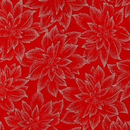 Robert Kaufman Holiday Flourish Metallic 12- Scarlet