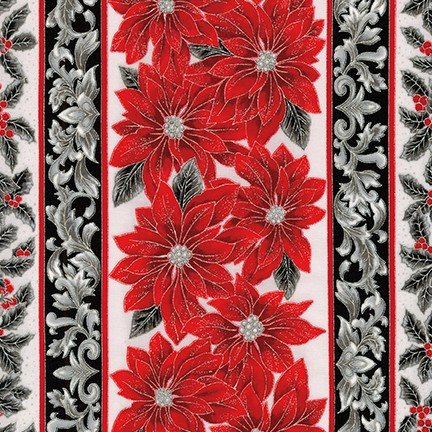 Robert Kaufman Holiday Flourish Metallic 12- Silver