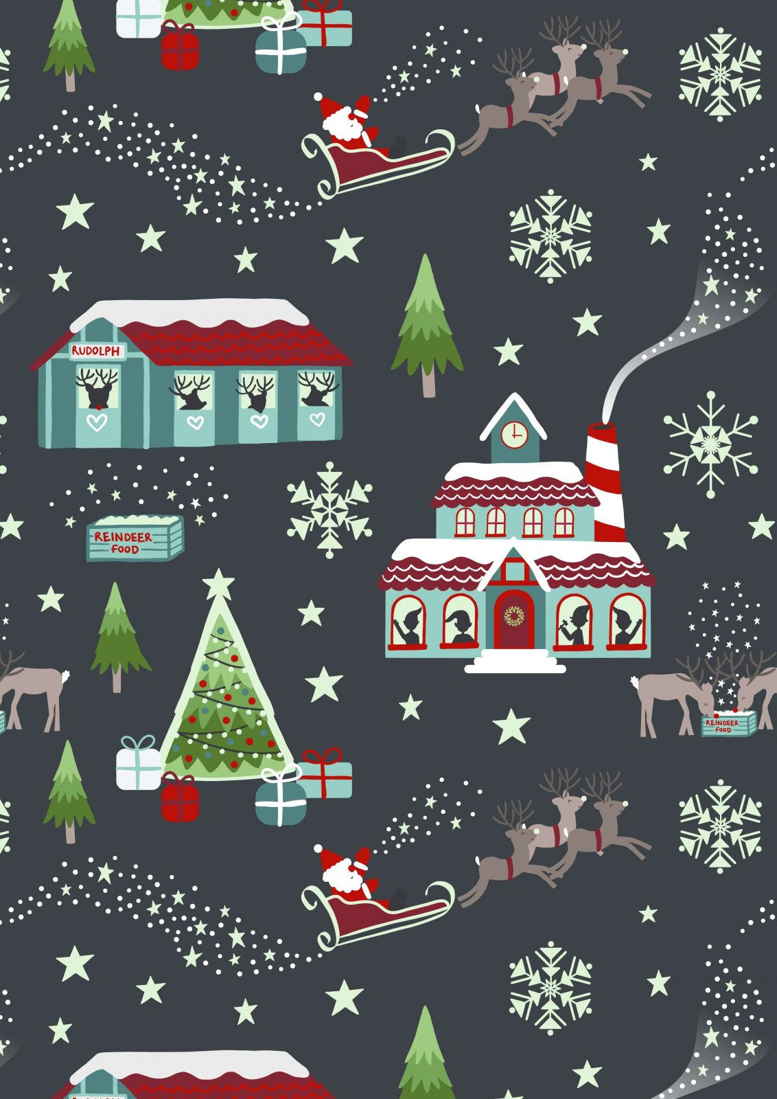 Lewis & Irene Christmas Glow- North Pole in Nighttime C47-3