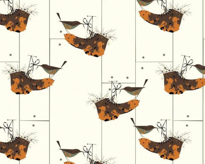 Birch Fabrics 100% Organic Charley Harper Bird Architects House Wren
