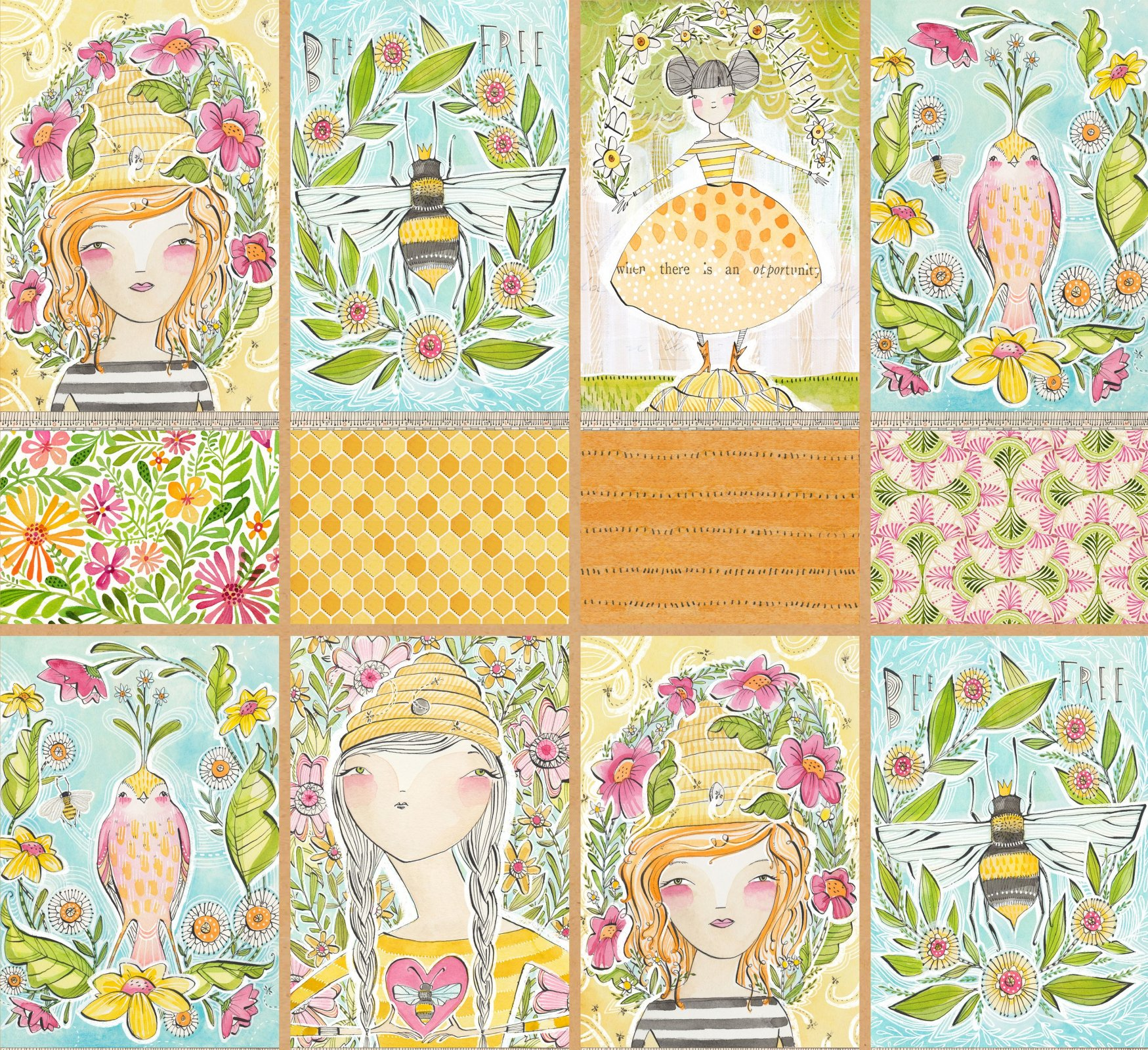 Blend Cori Dantini For the Love of Bees - Sweet Moments Panel - 24 x 44