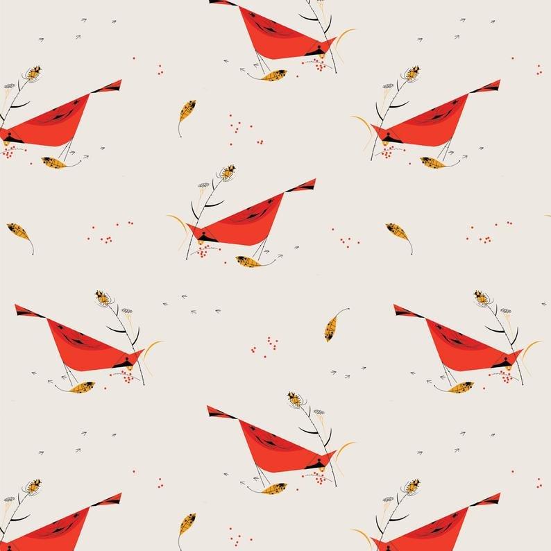 Birch Fabrics 100% Organic Charley Harper Holidays Berry Feast