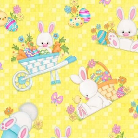 Henry Glass & Co. Hop to It Tossed Bunny Scenes Yellow