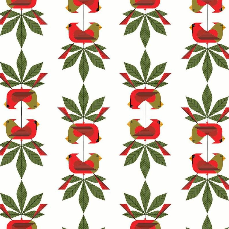 Birch Fabrics 100% Organic Charley Harper Holidays Cardinal Consort