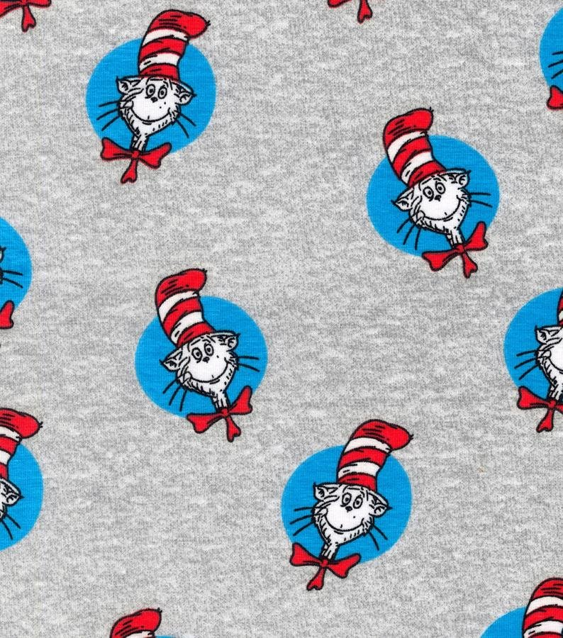 Robert Kaufman The Cat In The Hat Knit- Grey