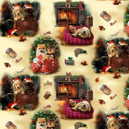 Henry Glass & Co. Fireside Pups Cream Pup Scenic Christmas