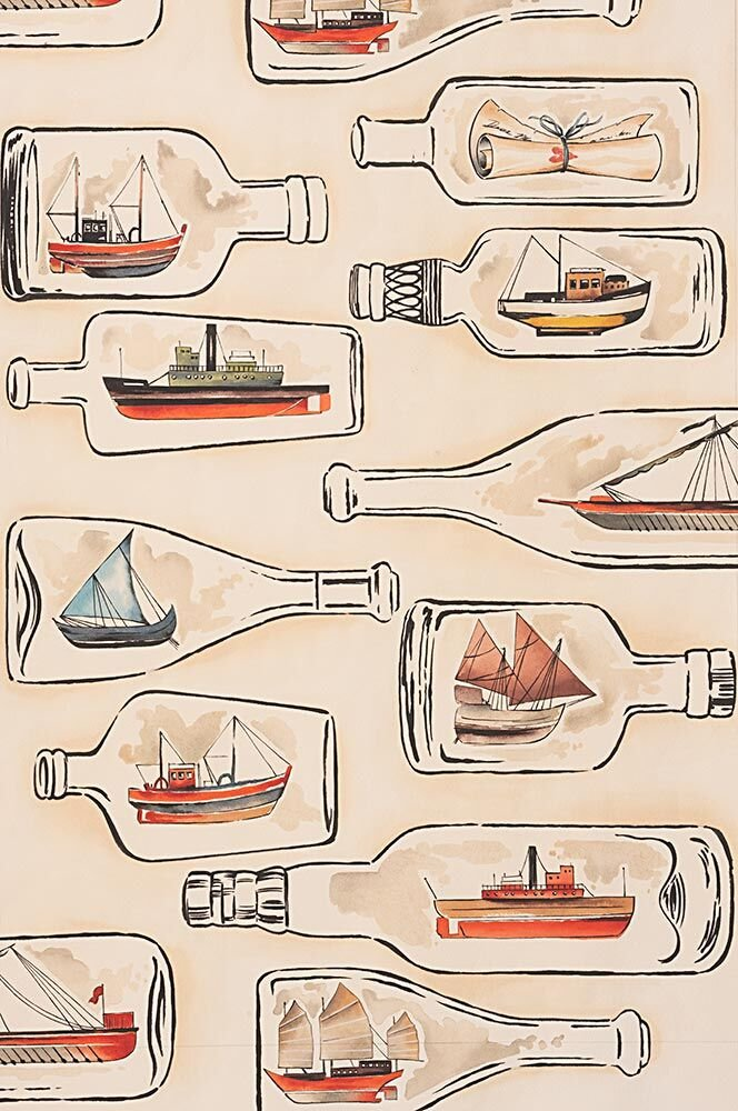 Alexander Henry Nicole's Prints Message in a Bottle-8834A Tea