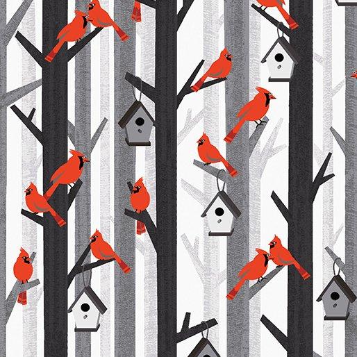 Kanvas Studio Noel Forest Cozy Cardinals Gray/Red