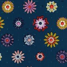 Cotton + Steel Melody Miller Picnic Enamel Flowers Teal