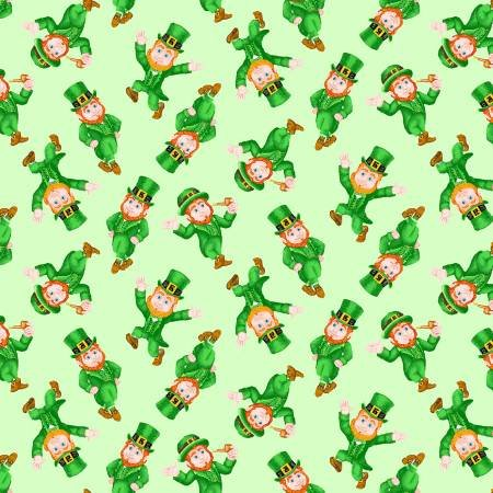 Henry Glass & Co. Pot of Gold 9369-66 Green Small Tossed Leprechaun