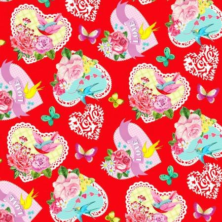 Henry Glass & Co. Heart & Soul 9441-88 Red Tossed Large Hearts Allover