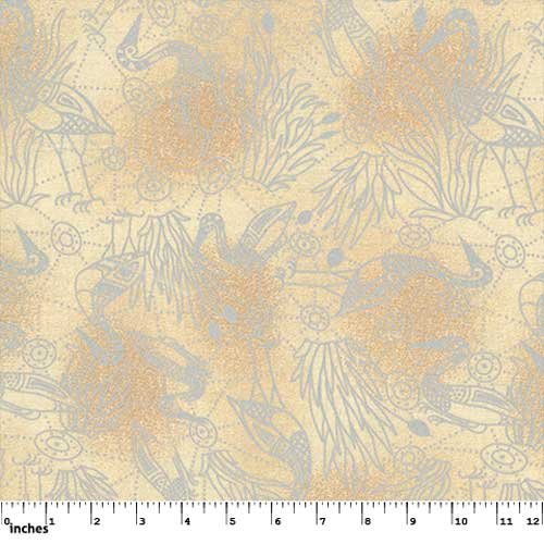 M & S Textiles Brolga Dreaming Ecru by Nambooka