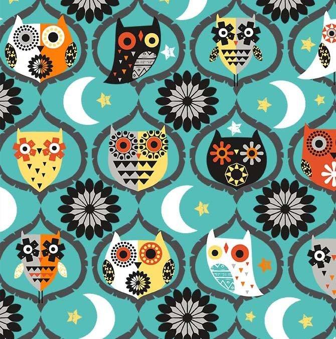 Michael Miller Hocus Pocus CX9741-TEAL-D Owl Night Long
