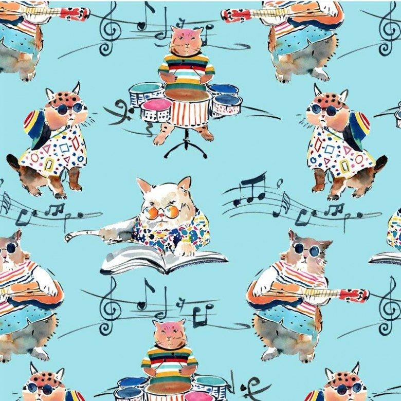 Michael Miller Musical Cats DCX9897-BLUE-D Hip Cat Rehearsal