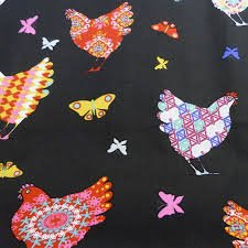STOF France Coated Fabric Chickens with Butterflies