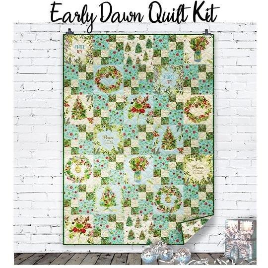 Clothworks O Christmas Tree Early Dawn Quilt Kit Aqua