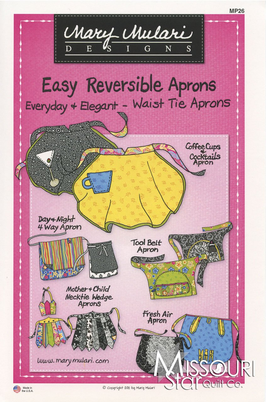 Mary Mulari Easy Reversible Aprons Waist Tie Aprons