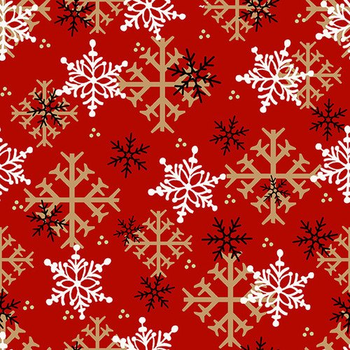 Henry Glass & Co. Flannel Gnomies F9268-88 Red Snowflake