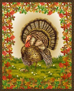 Fabri Quilt Golden Harvest Turkey Panel