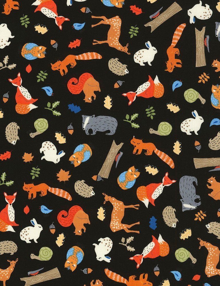 Timeless Treasures Fun Tossed Forest Animals Black