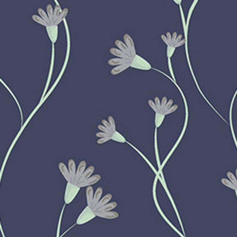 Clothworks Secret Garden Y2625-53 Navy Blue