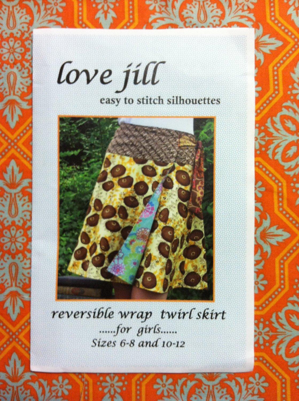 Love Jill Reversible Wrap Twirl Skirt Girls sz 6-8,10-12