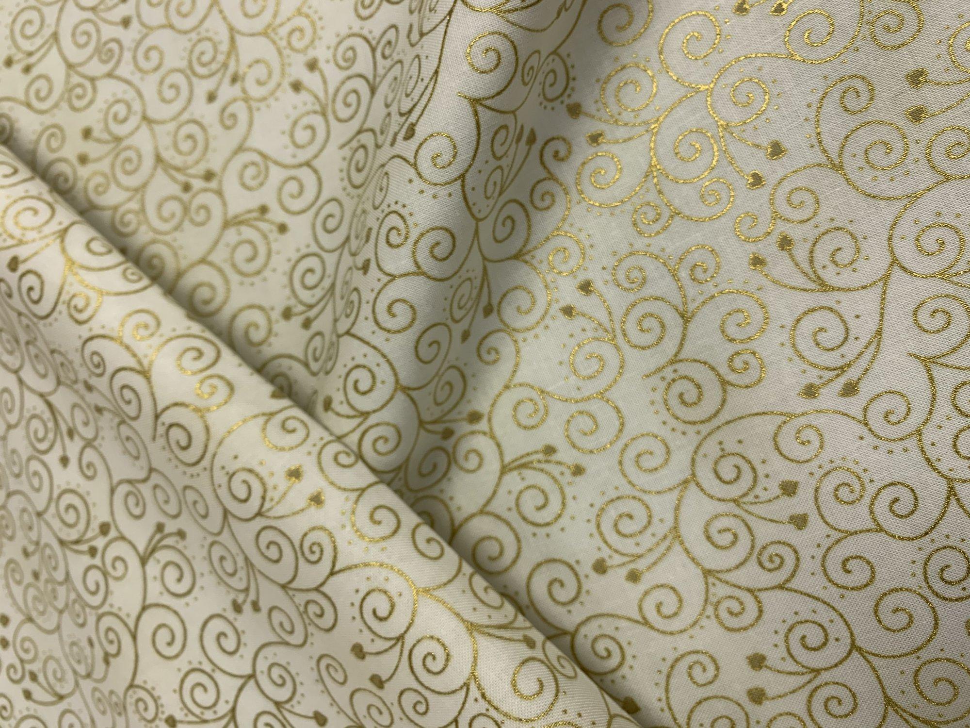 Stof Magic Christmas Gold Metallic Scroll Cream 4597-129
