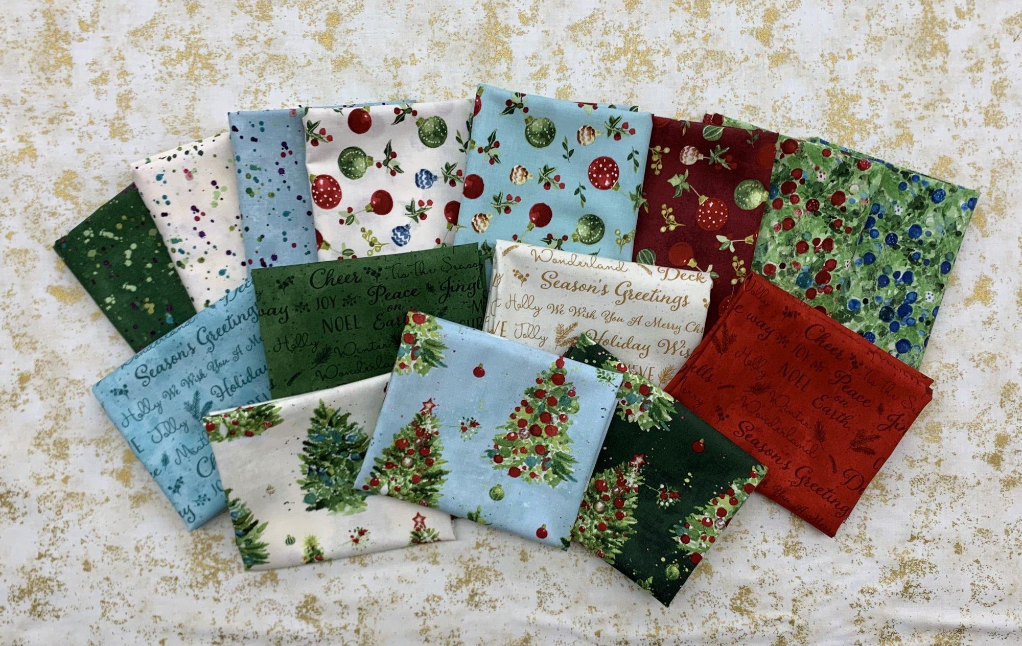Clothworks O Christmas Tree 15pc Fat Quarter Bundle