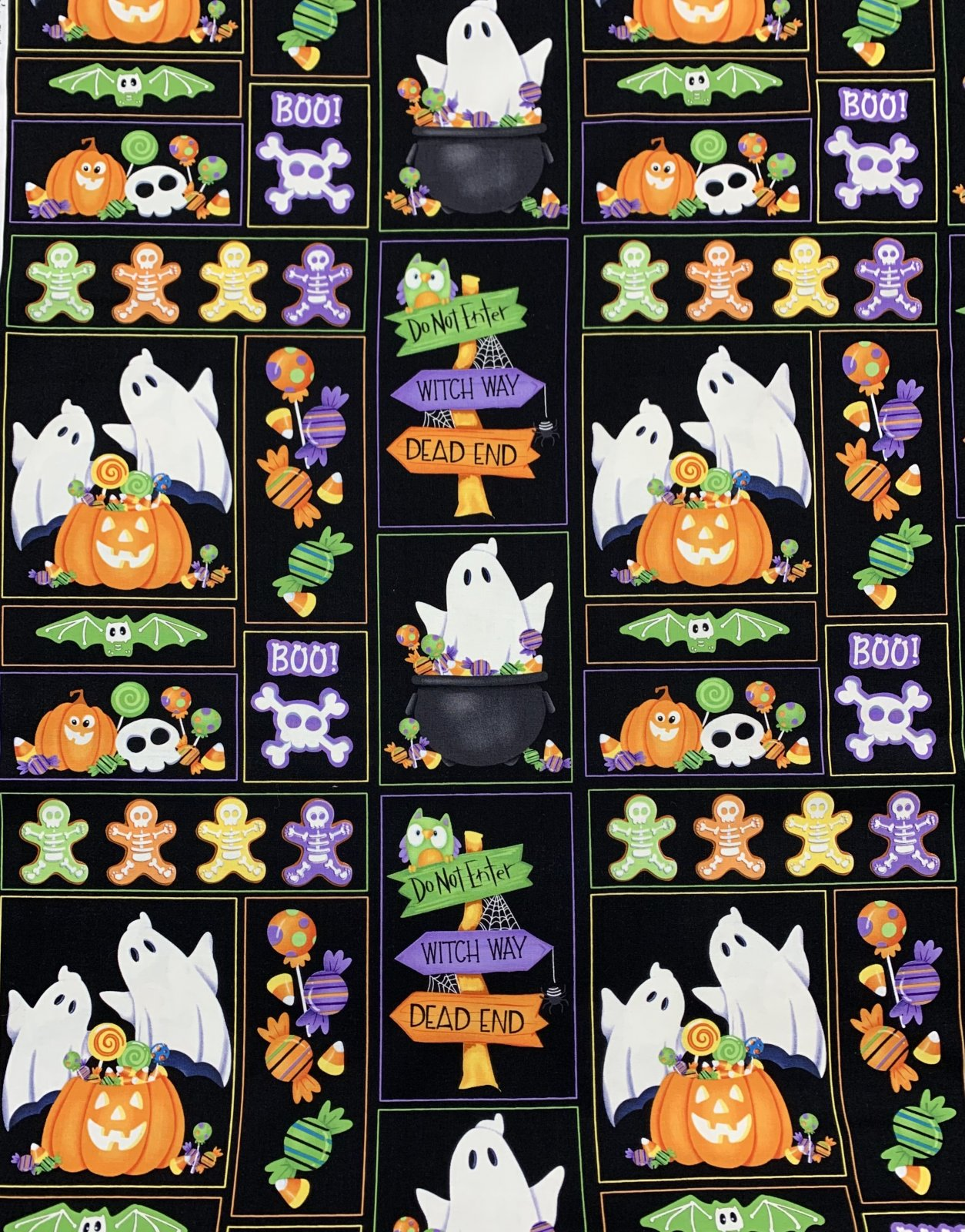 Henry Glass & Co. Glow Ghosts 9603G-99 Black Patchwork of Motifs