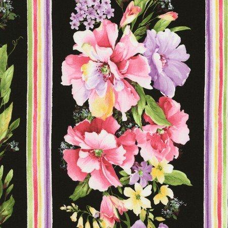 Timeless Treasures Isabelle Black Flowers C6477 Black