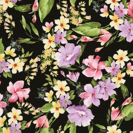 Timeless Treasures Isabelle Flowers C6478 Black