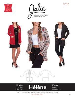 Jalie Patterns 3677 HELENE Shawl Collar Cardigan Women and girls sizes