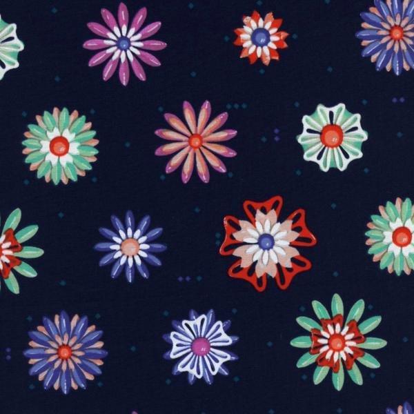 Cotton + Steel Melody Miller Picnic Enamel Flowers Navy