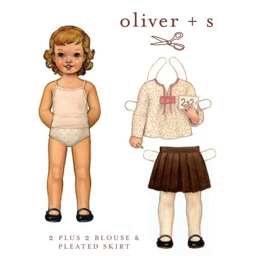 Oliver + S 2+2 Blouse & Pleated Skirt Pattern sz 4-8