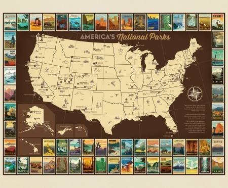 Riley Blake P9157 National Parks Poster Panel, 36 X 43
