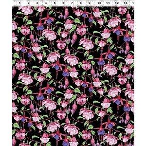 Clothworks Fuchsias & Hummingbirds Black 2 Y2355-3 Black