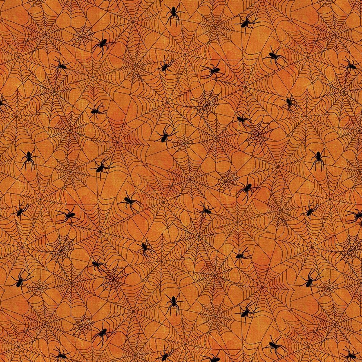 Wilmington Prints Frightful Night 3044-20509-899 Spiders & Webs Orange
