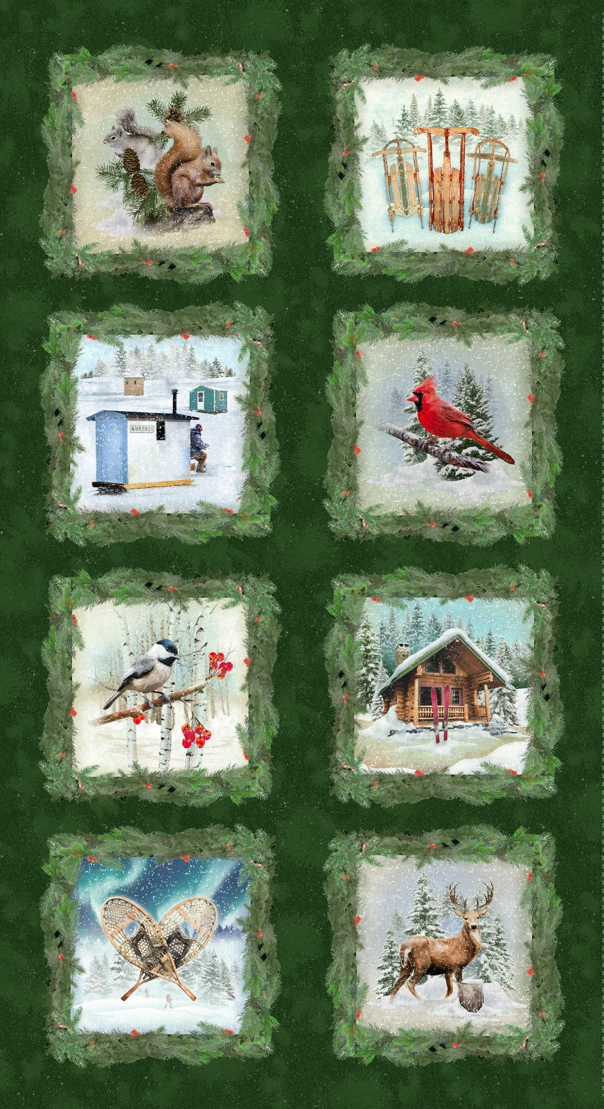 Clothworks Quilt Minnesota 2021 Y3311-113 Digital Blocks Forest