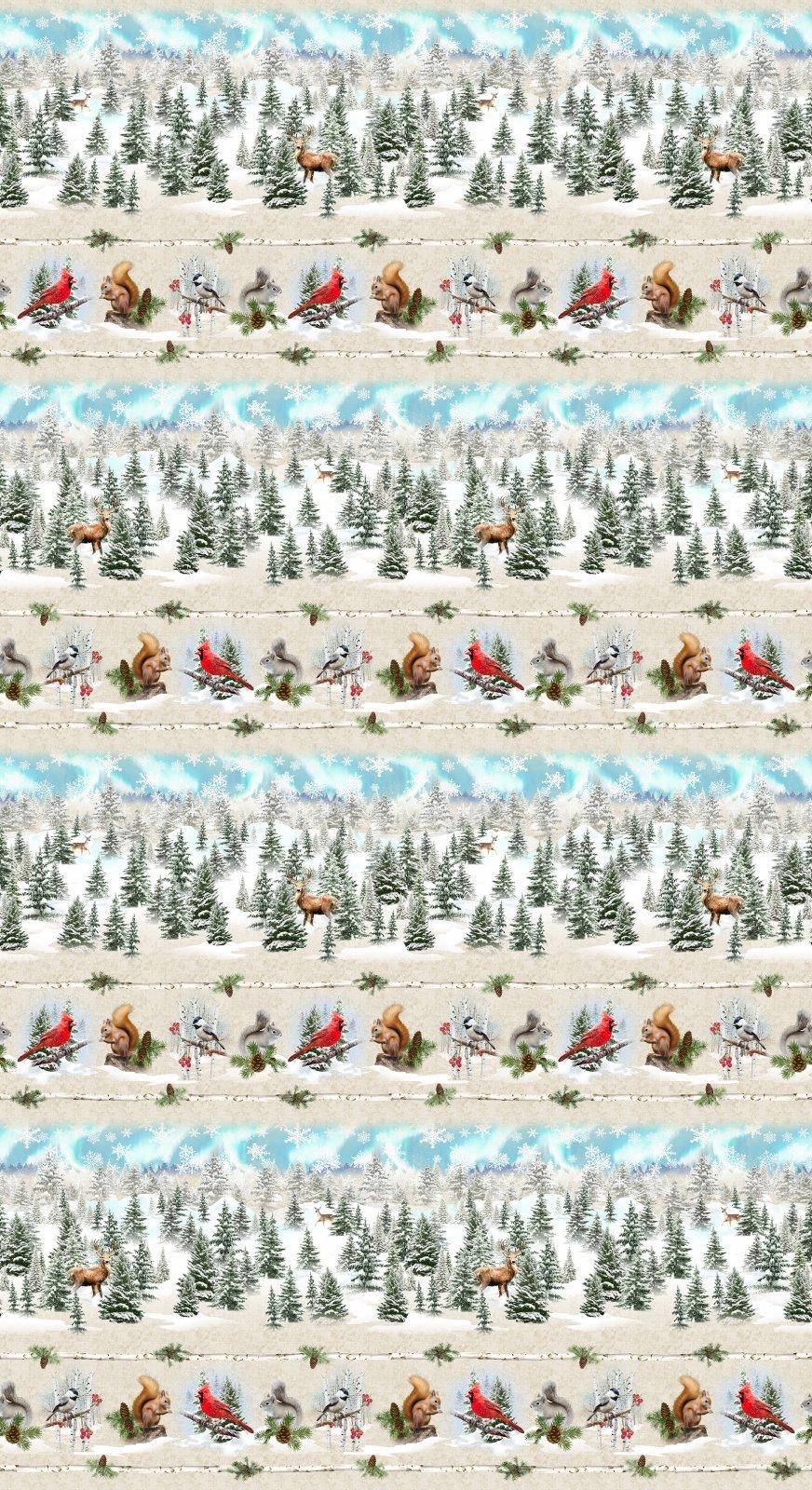 Clothworks Quilt Minnesota 2021 Y3313-64 Digital Pictorial Stripe Light Caramel