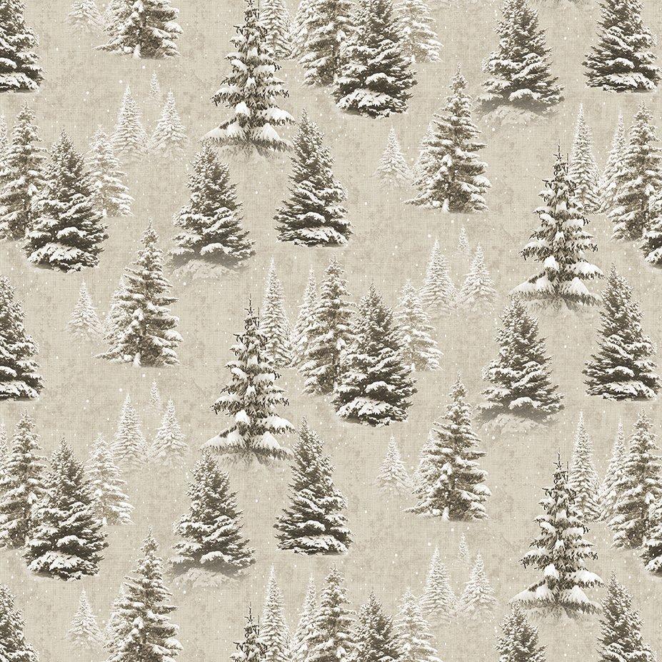 Clothworks Quilt Minnesota 2021 Y3315-12 Digital Snow Trees Khaki