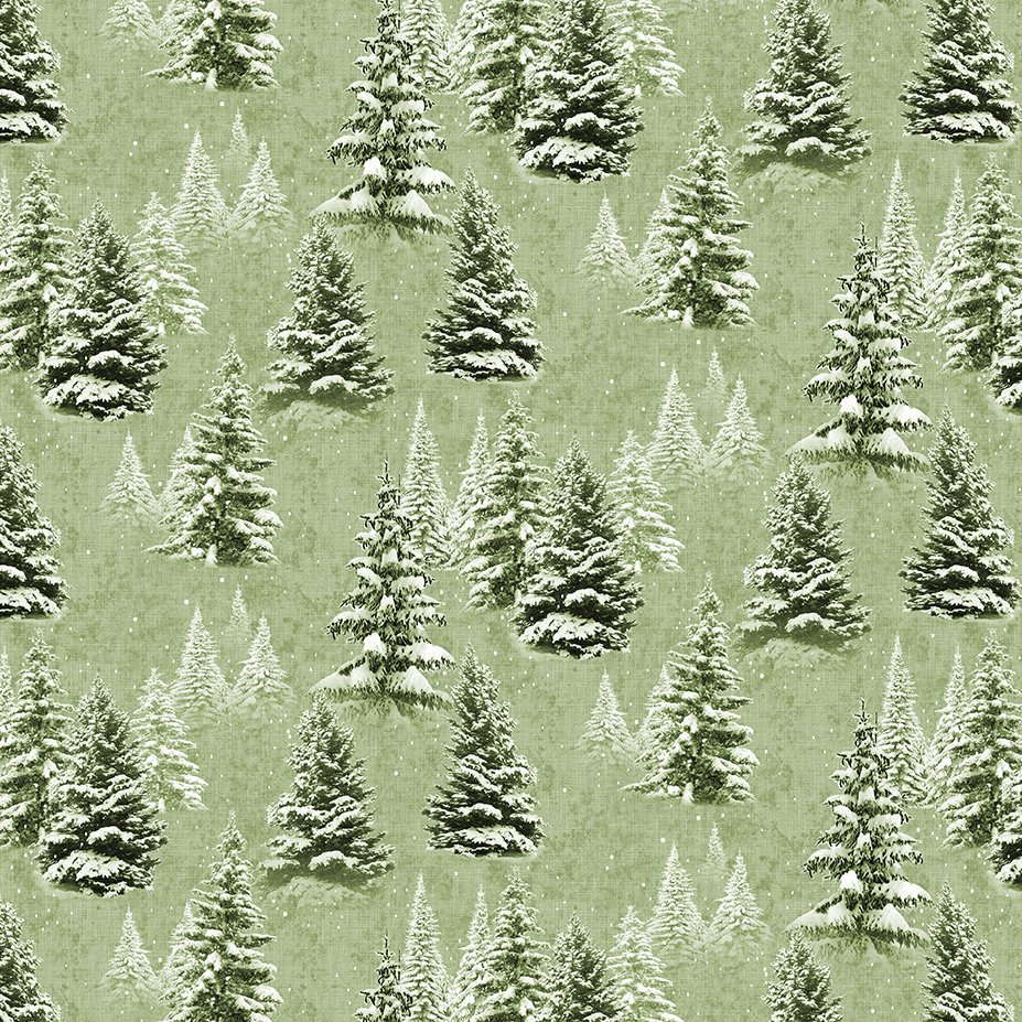 Clothworks Quilt Minnesota 2021 Y3315-23 Digital Snow Trees Light Olive