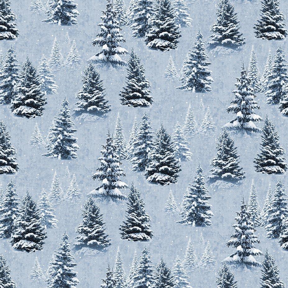 Clothworks Quilt Minnesota 2021 Y3315-87 Digital Snow Light Denim