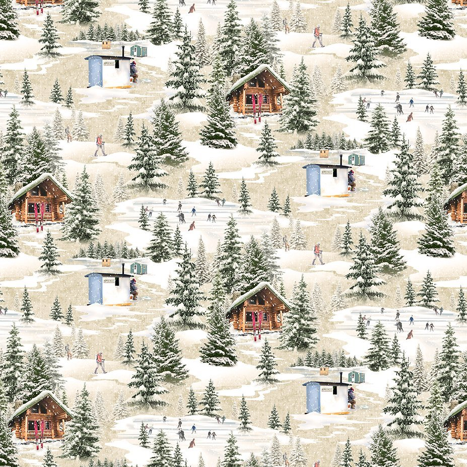 Clothworks Quilt Minnesota 2021 Y3316-62 Digital Winter Toile Taupe
