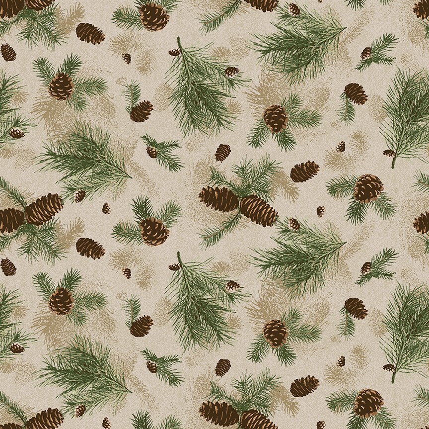 Clothworks Quilt Minnesota 2021 Y3317-65 Pine Branches Caramel