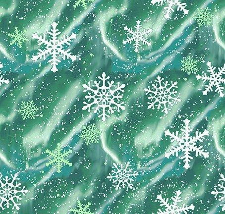 Clothworks Quilt Minnesota 2021 Y3320-107 Aurora Snow Emerald