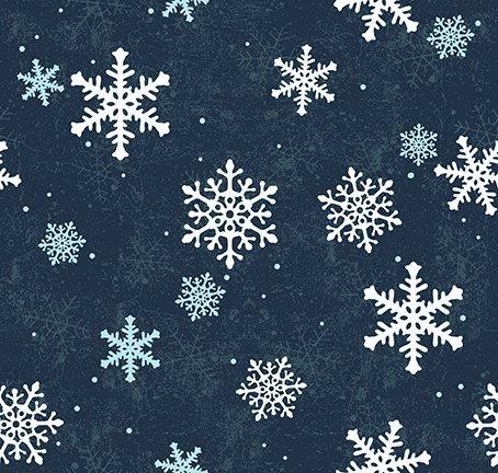 Clothworks Quilt Minnesota 2021 Y3321-53 Snowflakes Navy Blue
