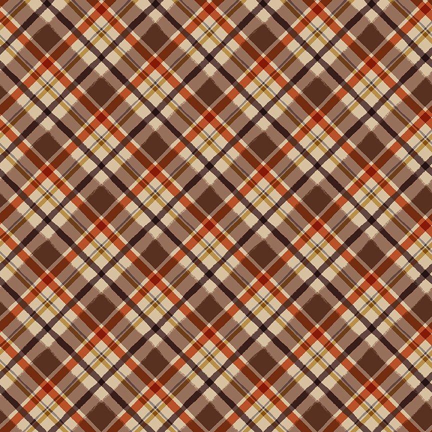 Clothworks Quilt Minnesota 2021 Y3322-66 Diagonal Plaid Dark Caramel