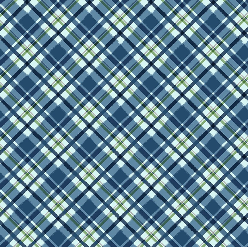 Clothworks Quilt Minnesota 2021 Y3322-90 Diagonal Plaid Blue